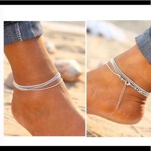 Multi layered turquoise beaded ankle bracelet NEW